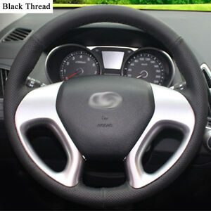 New-DIY-Sewing-on-PU-Leather-Steering-Wheel-Cover-Exact-Fit-For-Hyundai-IX35