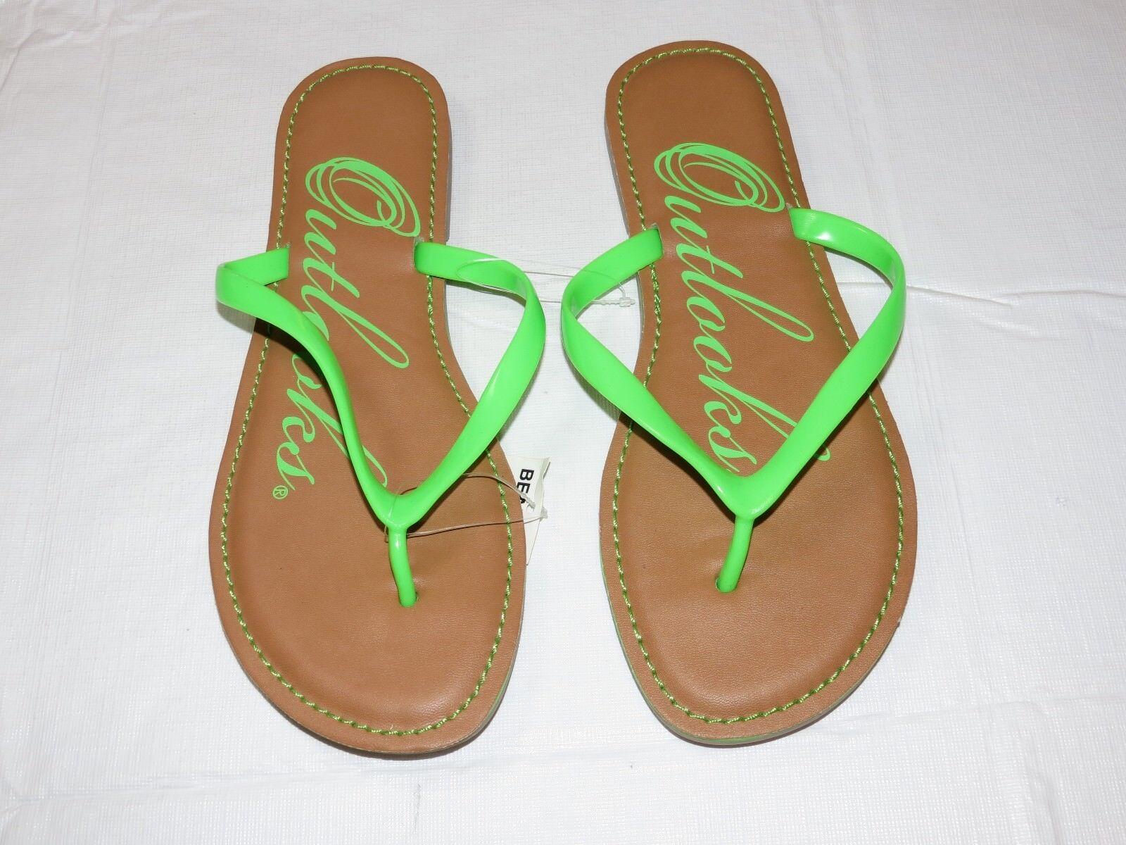 Outlooks Damen Zehentrenner Sandalen Limettengrün Hellbraun Beach Damen 7M 7 ^^^