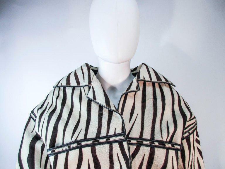 AMEN WARDY Zebra Pattern Cowhide Coat Size 4-8 - image 9