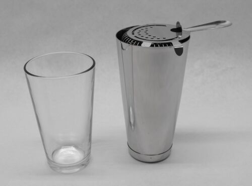 Strainer /& WEIGHTED Tin Bar Cocktail Mixing Kit 3 Piece BOSTON SHAKER SET Glass