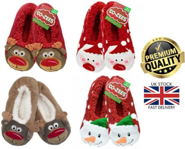 Unisex Fun Padded Fleece Novelty 3D Festive Reindeer Slippers In 4 UK Kids Sizes