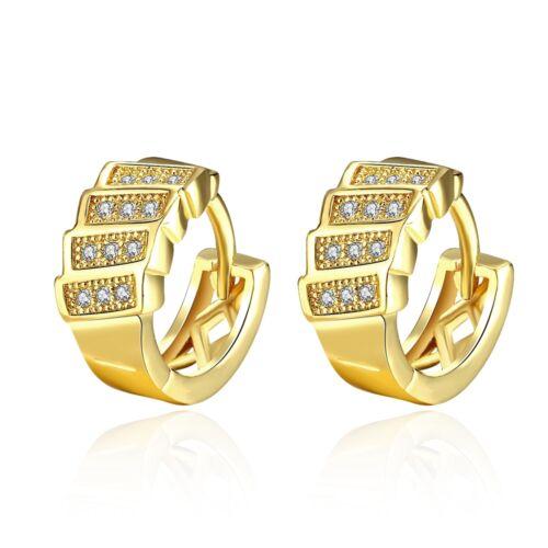 Damen Ohrring Ohrstecker Ohrhänger Creolen Zirkonia weiß pl Gelbgold DOK043-A