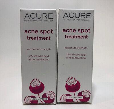 2x Acure Acne Spot Treatment Maximum Strength Salicylic Acid
