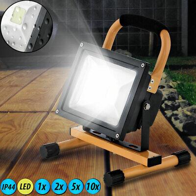 LED Außen Spot Steh Boden Lampe Garten Fluter Bau Leuchte Strahler ALU Glas Hof