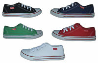 Mens Canvas Pumps/Plimsoles,  Navy, Red, Green, Black, White,  Size 7 to 12