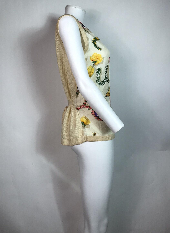 Rare Vtg Gucci 90s Ecru Floral Print Silk Linen B… - image 4