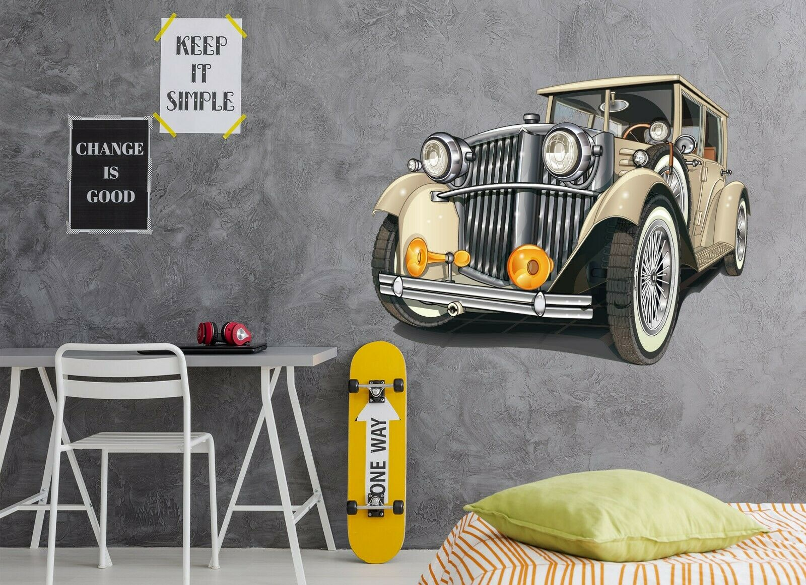 3D Vintage Classic Car A22 Car Wallpaper Mural Poster Transport Wall Stickers Zo