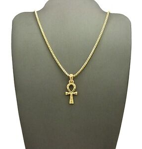 NEW-EGYPTIAN-ANKH-CROSS-PENDANT-amp-18-034-20-034-BOX-CHAIN-HIP-HOP-NECKLACE-RC2140G