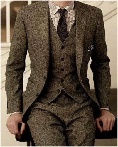 3 PCS Men/'s Brown Tweed Herringbone Check Tan Tuxedos Groom Slim Fit Suit Custom