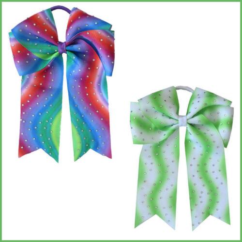 "14 BLESSING Girl 5.5/"" Cheer Leader Hair Bow Elastics Grosgrain Ribbon Rhinestone"