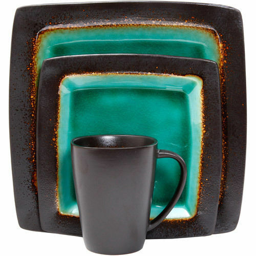 NEW Gibson Everyday Ocean Oasis 16-Piece Dinnerware Set Turquoise Stoneware