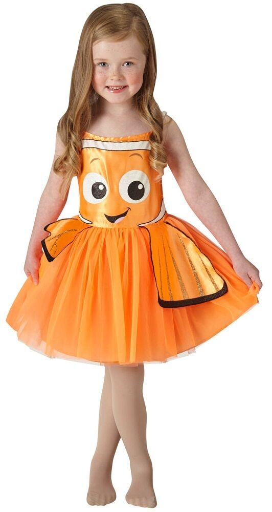 Official Disney Orange Finding Nemo Dory Tutu Fancy Dress Costume Outfit For Girls