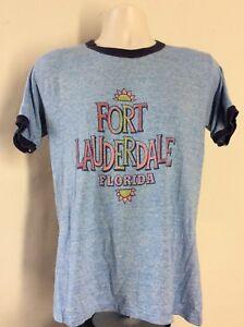 Vtg-70s-Rayon-Tri-Blend-Fort-Lauderdale-Florida-Ringer-T-Shirt-Heather-Blue
