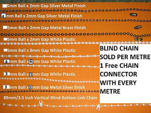 Blind Bead/Beaded Chain White/Silver/ brass Roller,Vertical or Roman per meter