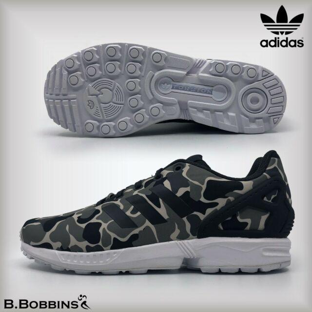 best service 1813a 25d58 Adidas Originals ZX Flux Camo Trainers UK Size 3 4 5 6 6.5 Boys Girls Ladies