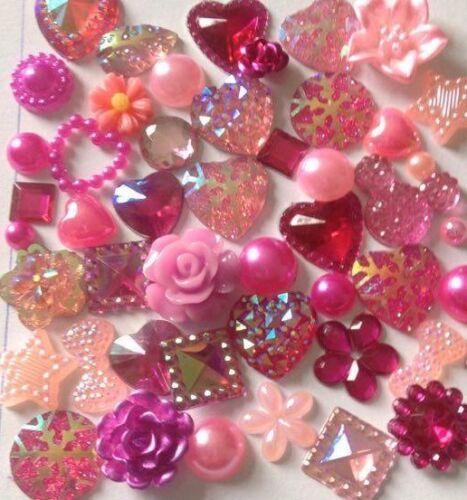 60 x Perlas De Resina Mixta plana espaldas Corazones Moño Flor Adornos Cabujón