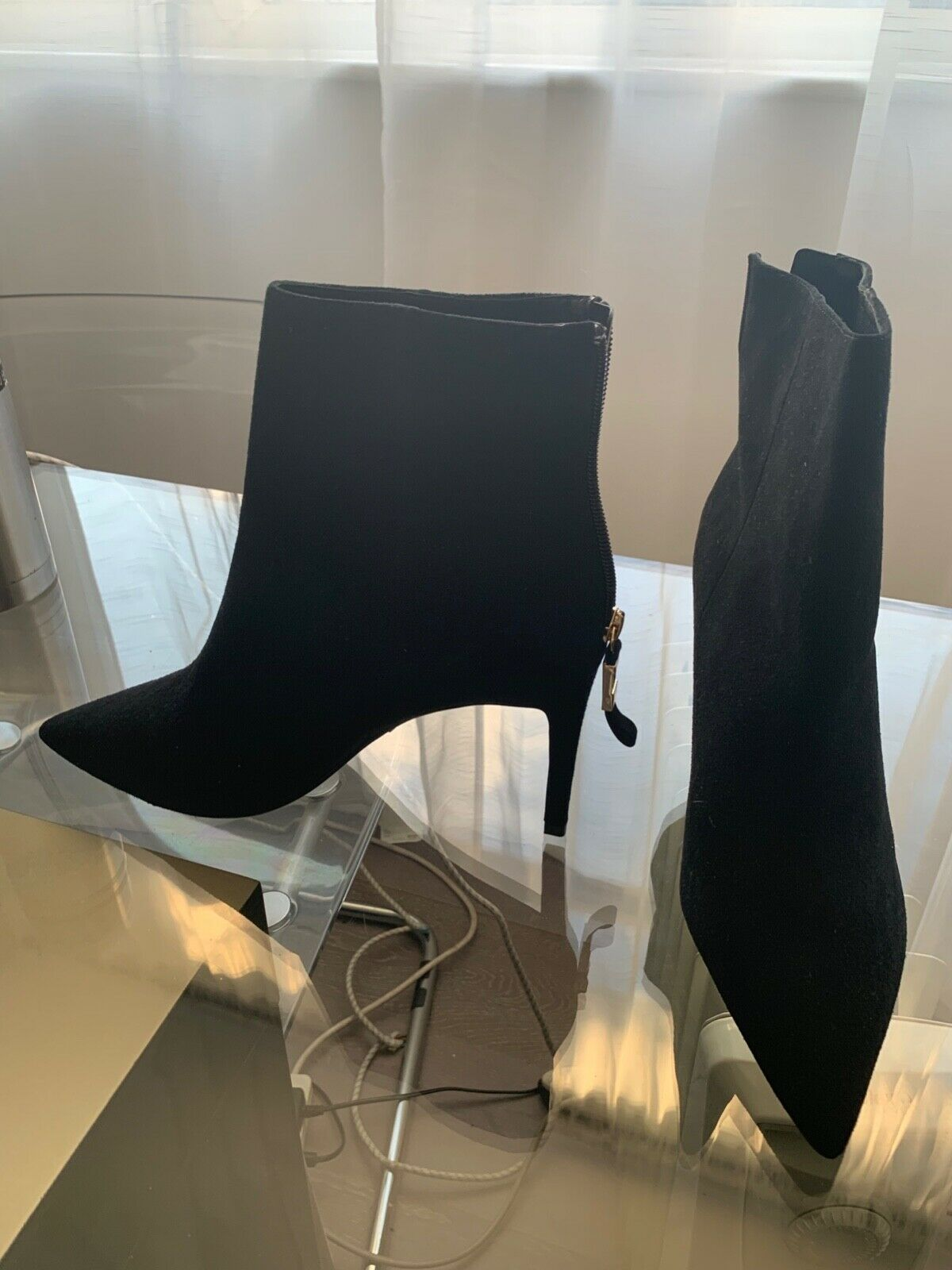 Brand new unworn gold zipped back black suede ankle ankle ankle boots from Dune UK size 41 1346b7