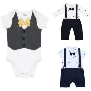8daa8c8cf8ac NEW Baby Boy Wedding Formal Tuxedo Suit Bowtie Romper ...