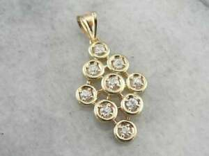 0-60-CT-Diamond-Vintage-Organic-Structure-Style-Cluster-18-034-Necklace-14k-Gold-GP