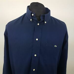 Lacoste-Mens-Thick-Shirt-43-XL-Long-Sleeve-Blue-Regular-Fit-No-Pattern-Cotton