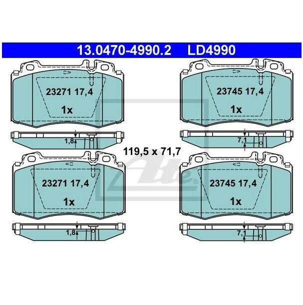 ATE 13.0470-4990.2 Jeu de 4 plaquettes de frein Céramique pour MERCEDES-BENZ
