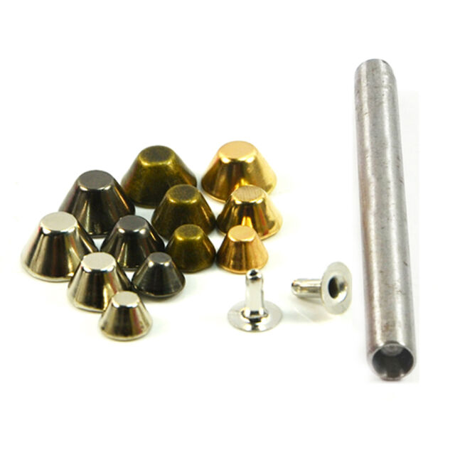 Bucket Rivet Metal Spike Stud Leathercraft DIY Fashion Punk Rock With Press Tool