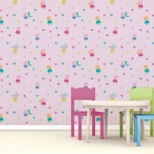 Image Is Loading PEPPA PIG WALLPAPER KIDS ROOM WALLPAPER PINK FEATURE