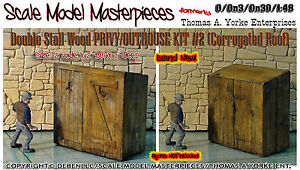 Scale-Model-Masterpieces-Yorke-Double-Stall-Wood-Privy-OUTHOUSE-KIT-O-1-48