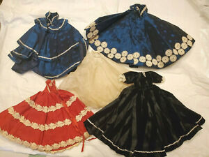 Lot-4-Old-Vintage-Doll-Gowns-Clothing-dolls-Fancy-HomeMade-Dress-11-034-long