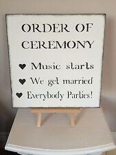 Matrimonio in legno ordine di cerimonia segno shabby chic vintage decorazione ricevimento