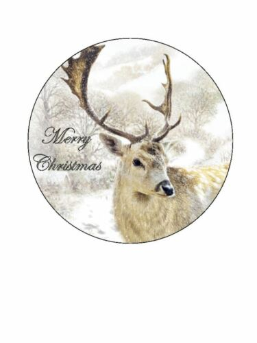 Christmas cake xmas stag personalised Wafer Icing edible Round Cake topper