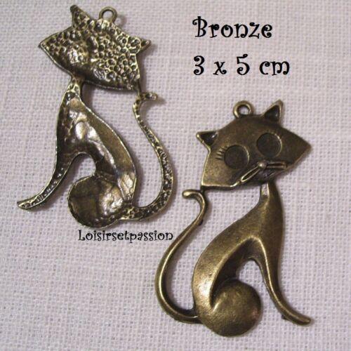 Bronze 3 x 5 cm 411 GRAND CHARM GRAND CHAT ASSIS PENDENTIF BRELOQUE