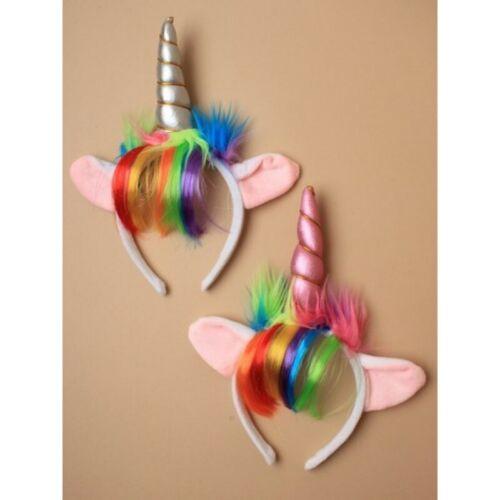 unicorn horn with ears /& RAINBOW HAIR,PINKOR SILVER on a  headband fancy dress