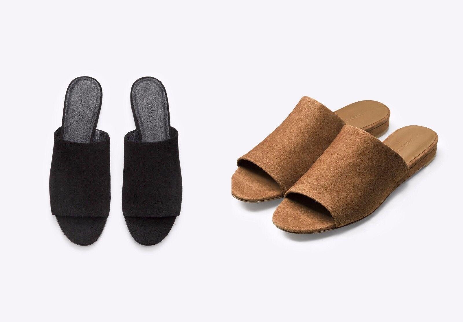 NIB Vince Bartley 2 Italian Suede Leather Slide Sandal Mule Black & Cedar  225