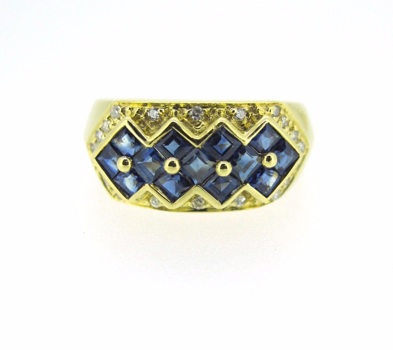 .12 ct tw DIAMONDS Round Cut 18k Yellow gold SAPPHIRES Ladies Ring Size 6.75
