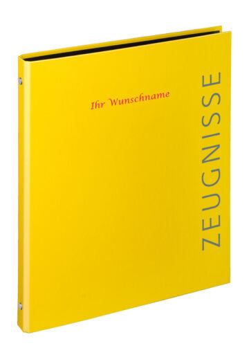 Zeugnismappe mit pinkgefärbter Gravur gelb Zeugnisringbuch Farbe