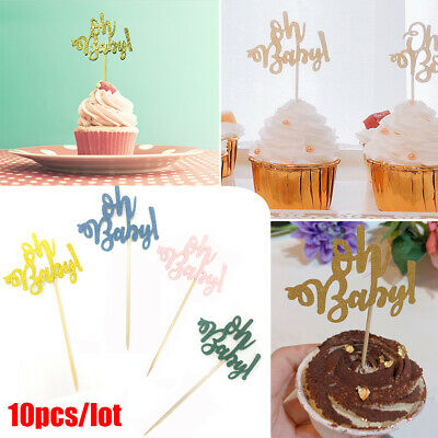 Pleasing 10Pcs Oh Baby Cupcake Toppers Baby Shower First Birthday Cake Personalised Birthday Cards Veneteletsinfo