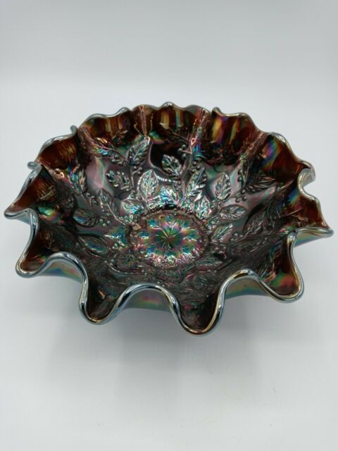 Vintage Fenton Holly Ruffled Edge Carnival Glass Bowl