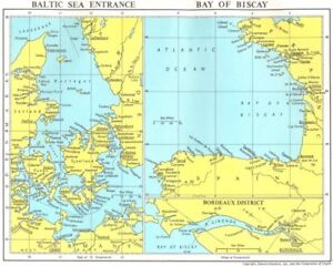 Details about LLOYDS MARITIME MAP. Denmark Baltic Sea entry Bay Biscay  Gironde Bordeaux 1971