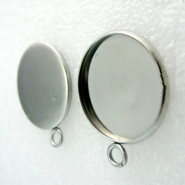 Jewelry Round Pendant Trays 10pcs 25mm Silver Base Blank Bezel Cabochon Setting