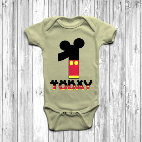 1 Today Baby Grow Body Suit Vest 0-18 Months Mickey Disney Inspired One Birthday