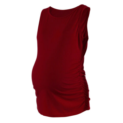 Womens Maternity Classic Side Ruched Tops Pregnancy Clothes Tank Tops Blouse XL
