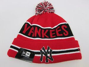 2237d37047b New Era MLB NEW YORK YANKEES COACH KNIT WINTER HAT  RED-BLACK-WHITE ...
