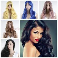 Women Sexy Long Curly Brown/Blonde/Pink Grey/Black/Yellow Wave Wig
