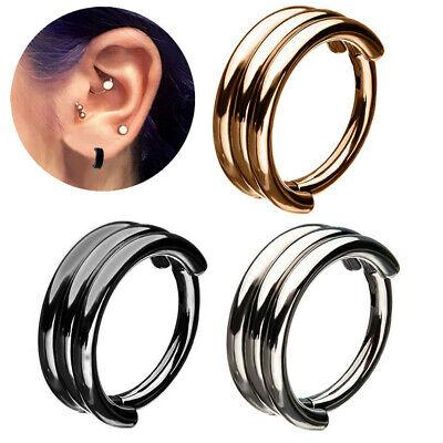Triple Stack Steel Hinged Segment Ring Hoop Nose Lip Ear Septum