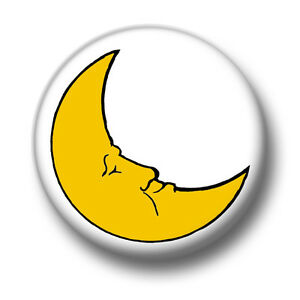crescent moon 1 inch 25mm pin button badge cartoon cute planets rh ebay co uk Crescent Moon Symbol yellow crescent moon cartoon