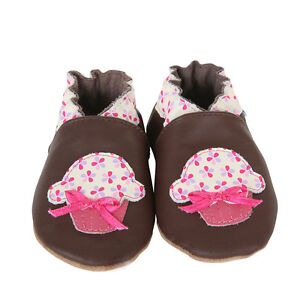 ROBeeZ Ultra-Soft Crib Shoes Baby Infant Girls Cupcake Floral 6-12M,18-24M NIB