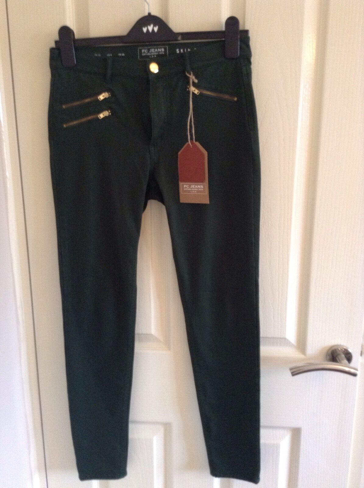 French Connection green skin tight jeans, size 10 (BNWT) RRP