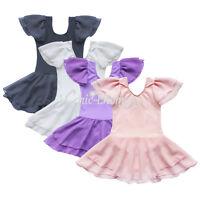 Girls Gymnastics Ballet Leotard Dance Dress Tutu Skirt Kids 2-14Y Skate Costume