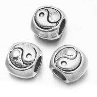 20pcs Vintage Silver Alloy Gossip Pattern European Beads Fit Charms Bracelets D